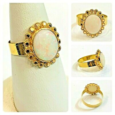 Beautiful Ring In Pure 22 Carat Gold - Opal Stone- (Size - P) • 182.99£