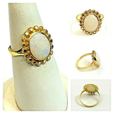 Beautiful Ring In Pure 22 Carat Gold - Opal Stone- (Size - N) • 165.99£