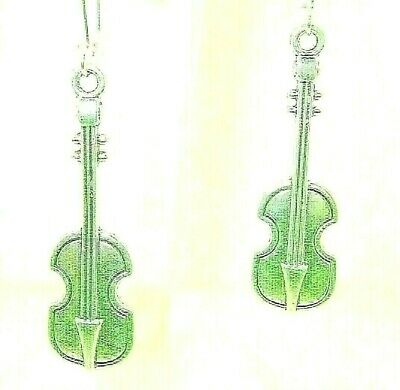 $ CDN7.46 • Buy New  Stand-up Bass Cello VIOLIN Strings Silver-tone Dangle Earrings  2-1/2  Long