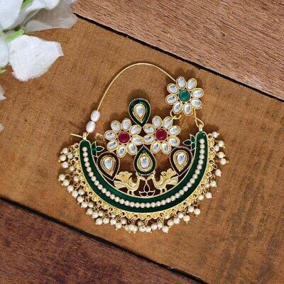 £8.99 • Buy Indian Imitation Jewellery/ Bridal/Party/ Gold, Pearl Nath Nose Ring