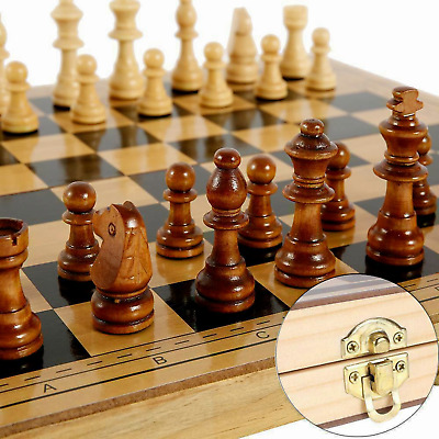 £9.99 • Buy New Large Chess Wooden Set Folding Chessboard Pieces Wood Board