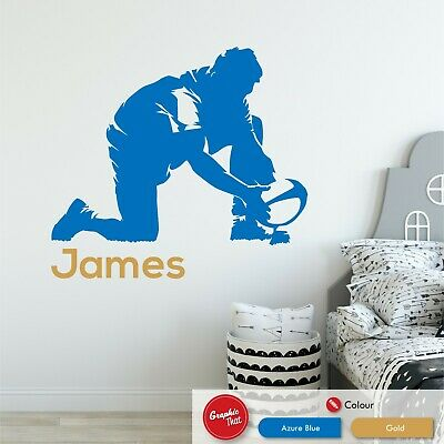 £6.99 • Buy Rugby Personalised Wall Art Sticker Childrens Sports Bedroom Vinyl Decal