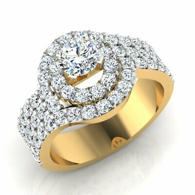 AU725.33 • Buy Solid 18KT Yellow Gold Solitaire Engagement Ring Round Cut 1.26 Ct Diamond