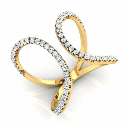 AU664.99 • Buy 18K Yellow Gold 0.42 Ct Round Natural Diamond Butterfly Cocktail Engagement Ring