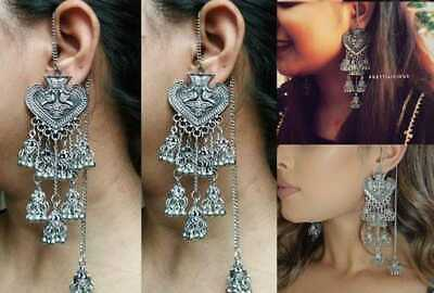 AU29.08 • Buy Jhumka Earrings Silver Long Bollywood Oxidized Jhumki Indian Traditional Jewelry