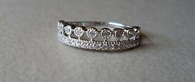 $ CDN31.32 • Buy QVC Diamonique Cz Sterling/Platinum Clad 2 Row Band Ring-sz 7