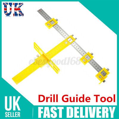 £9.36 • Buy Adjustable Drill Guide Punch Locator Woodworking Hole Cabinet Hardware Jig Tool