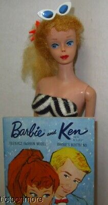 $ CDN47.62 • Buy VINTAGE BARBIE PONYTAIL DOLL BLONDE LUCY RED LIPS W/ ZEBRA SWIMSUIT & R BOOKLET