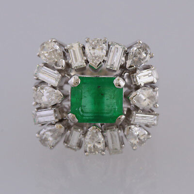 £7975 • Buy Vintage Platinum Colombian Emerald And Diamond Ring 1970s