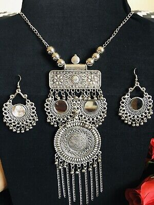 £10 • Buy Indian Tribal Ethnic  Silver Oxidized Fashion Jewelry Necklace Set With Earrings