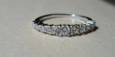 $ CDN32.57 • Buy QVC Diamonique Cz Sterling/Platinum Clad Graduated Rounds Band Ring-sz 7