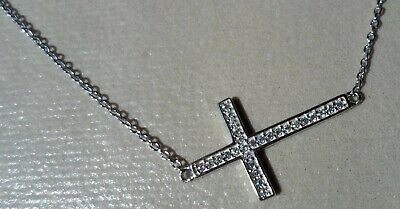 $ CDN31.32 • Buy QVC Diamonique Cz Sterling/Platinum Clad East/West Pave' Cross Necklace -18