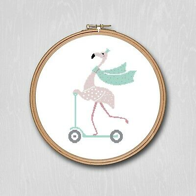 $12 • Buy Pink Flamingo On A Scooter Counted Cross Stitch Pattern