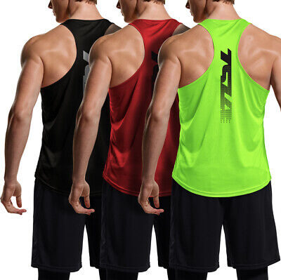 $23.98 • Buy TSLA 3 Pack Men's Y-Back Muscle Workout Tank Tops, Athletic Gym Tank Top