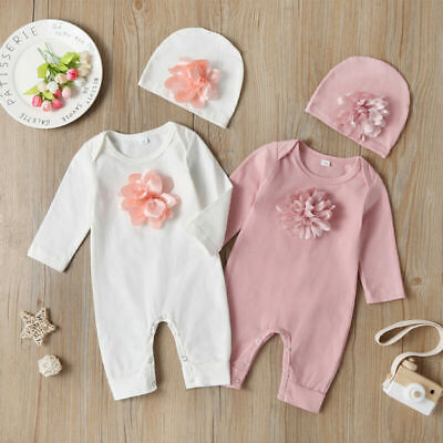 AU20.35 • Buy Newborn Baby Girl Romper Birthday Party Babysuits Clothes Flower Jumpsuit Outfit