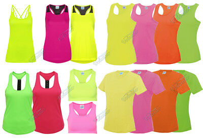 £7.50 • Buy Bright Flourescent Ladies Sports Tops, Girlie Cool Vests For Workouts, Running