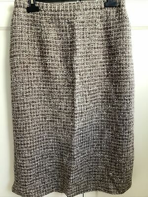 Cotswold Collections Size 16 Brown Checked Wool Mix Skirt. Fully Lined • 8.95£