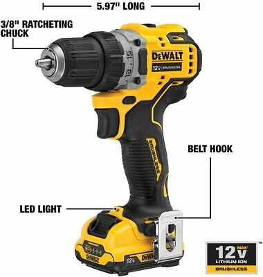 12V MAX Cordless Drills / Driver Kit Brushless 3.8-Inch Power Drill Drivers • 98.59£