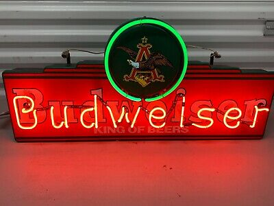 $ CDN604.77 • Buy VINTAGE Budweiser, King Of Beers, Neon Electric Sign, Man Cave, Bar, Works Fine,