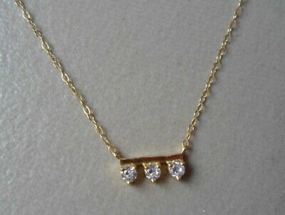 $ CDN31.32 • Buy QVC Diamonique Cz Sterling/14K Yellow Gold Clad 3 Stone Bar Necklace 16 -18