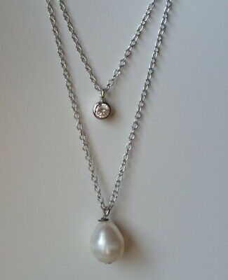 $ CDN31.32 • Buy QVC Diamonique Cz Sterling/Platinum Clad 2 Strand Pearl & Bezel Necklace 16 -18