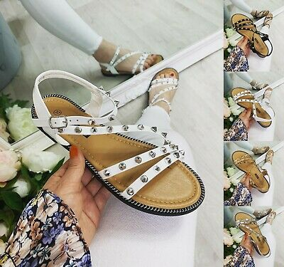 £12.99 • Buy Womens Ladies Flat Gladiator Roman Studded Strappy Sandals Shoes Size Peep Toe