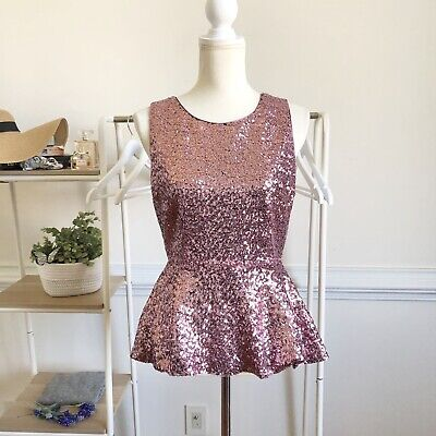 $ CDN25.06 • Buy Anthropologie Pink Sequined Peplum Blouse Small