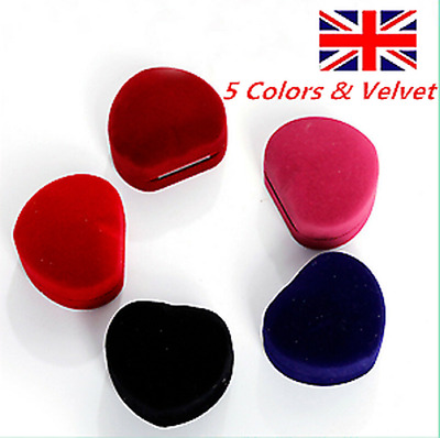 £2.45 • Buy Heart Shaped Velvet Ring Box Jewelry Display Storage Case For Wedding Ring New