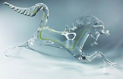 £39.99 • Buy Vintage Large Murano Hand Blown Art Glass Horse Ornament With Yellow Stripe