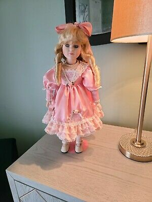 $ CDN23.81 • Buy Porcelain Doll With Pink Satin And Lace Dress