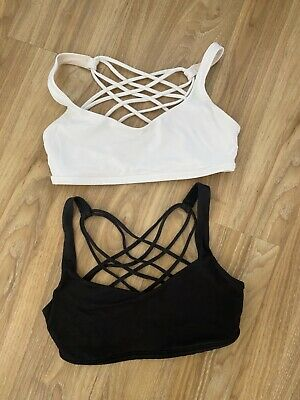 $ CDN28.12 • Buy LULULEMON FREE TO BE WILD BRA ***LOT Of 2***SIZE 4 WHITE / BLACK