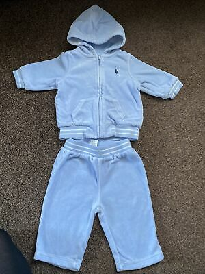 £20 • Buy Ralph Lauren Baby Boy Blue Velour Hoody Bottoms Tracksuit 6 Months