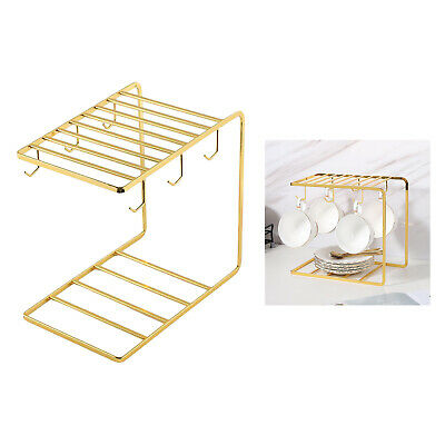 AU17.27 • Buy Modern Gold Cup Holder Metal 6 Cup Hooks For Glasses Home Kitchen Storage