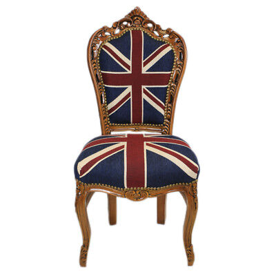 £180 • Buy Chairs - France Baroque Style Dining Royal Chair Mahogany / Union Jack  #60st5