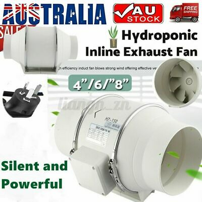 AU68.33 • Buy 4/6/8inch Silent Fan Extractor Duct Hydroponic Inline Exhaust Industrial Vent AU