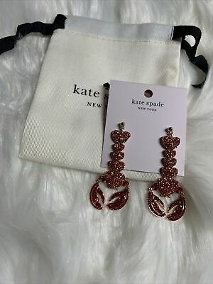$ CDN60.47 • Buy Authentic Kate Spade Love Lobster Sparkly Earrings In Red / Pink Crystal Nwt