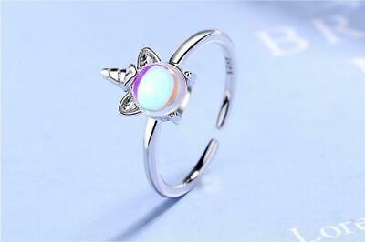 £3.99 • Buy 925 Unicorn Ring Sterling Silver Plated + Moonstone, Girls Open Band Adjustable