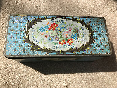 """£22.99 • Buy Antique/Vintage Biscuit Tin-Jacob & Co Flowers In Blue Setting 8.5x3.5x3.5"""""""