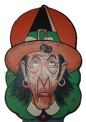$ CDN68.74 • Buy Vintage Early 18  Tall Halloween Witch Thick Die-cut Decoration. USA