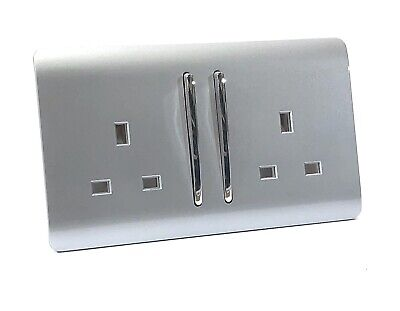 £10.99 • Buy Trendi Switch 2 Gang 13Amp Electrical Long Switched Double Plug Socket - Silver
