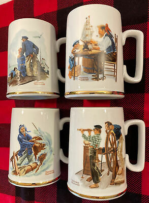 $ CDN22.50 • Buy Vintage 1985 Norman Rockwell Museum Coffee Mugs Cups Set Of 4 White W/ Gold Trim
