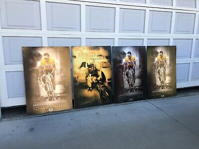 """£180.98 • Buy (4) Rare Signed 40"""" Oakley Lance Armstrong Tour France Two Piston Poster Display"""