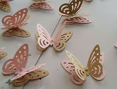 £3.50 • Buy 24x 3D Paper Butterflies Hen Night Party Table Decorations Pink And Craft Brown