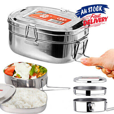 AU14.89 • Buy Double Layer Container Bento Food Stainless Steel Picnic Lunch Box Case