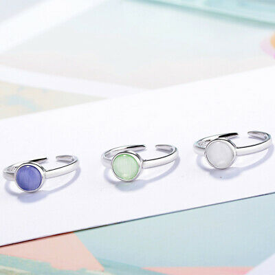 £2.97 • Buy 925 Sterling Silver Opal Round Stone Adjustable Ring Womens Mens Jewellery Gift