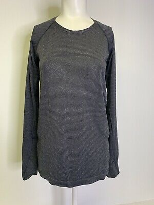 $ CDN93.74 • Buy Lululemon Sz 8 Swiftly Tech Long Sleeve Crew Top Shirt Run Sparkle Black Silver
