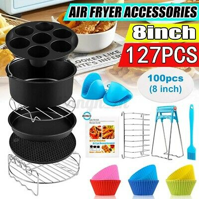 AU30.31 • Buy 8 /9'' Inch Air Fryer Accessories Frying Dish Rack Pan Pizza Cake Oven + Recipes