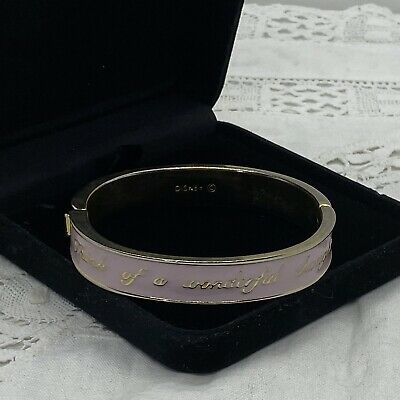 £14.99 • Buy DISNEY Couture Hinged Bracelet Bangle Think A Wonderful Thought Pink & Gold Tone