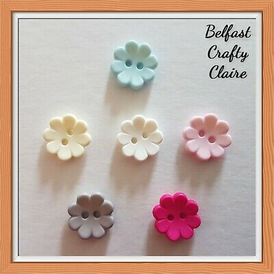 £2.95 • Buy 10 - Matt Baby Flower Round Resin Sewing Buttons - 15mm - 6 Colours Available