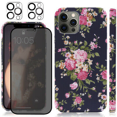 AU12.34 • Buy 3 In 1-Full Body Floral Case+Privacy Glass+Lens Glass For IPhone 12 Pro Max 6.7